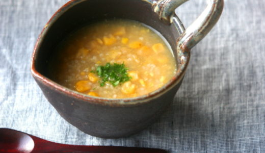 <レシピ>ひえととうもろこしの中華風スープ